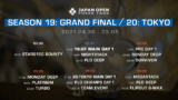 19: Grand Final / 20: Tokyo 合計29のトーナメントを用意